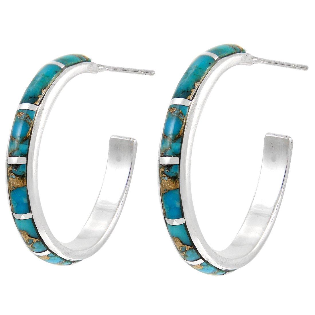 Hoop Turquoise Earrings Sterling Silver 925 Genuine Turquoise & Gemstones (Teal/Matrix)