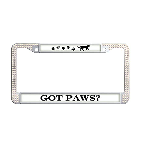 Amazon.com: Got Paws? Shining Crystal Car License Plate Frame ...