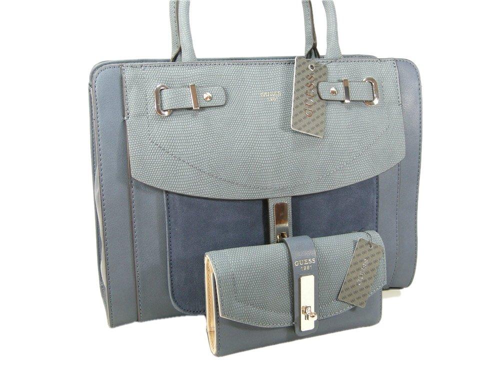 New Guess Logo Purse Satchel Hand Bag Cross Body & Wallet Set 2 Piece Matching Blue