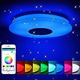 HOREVO Plafón LED Lámpara de Techo con Altavoz Bluetooth ...