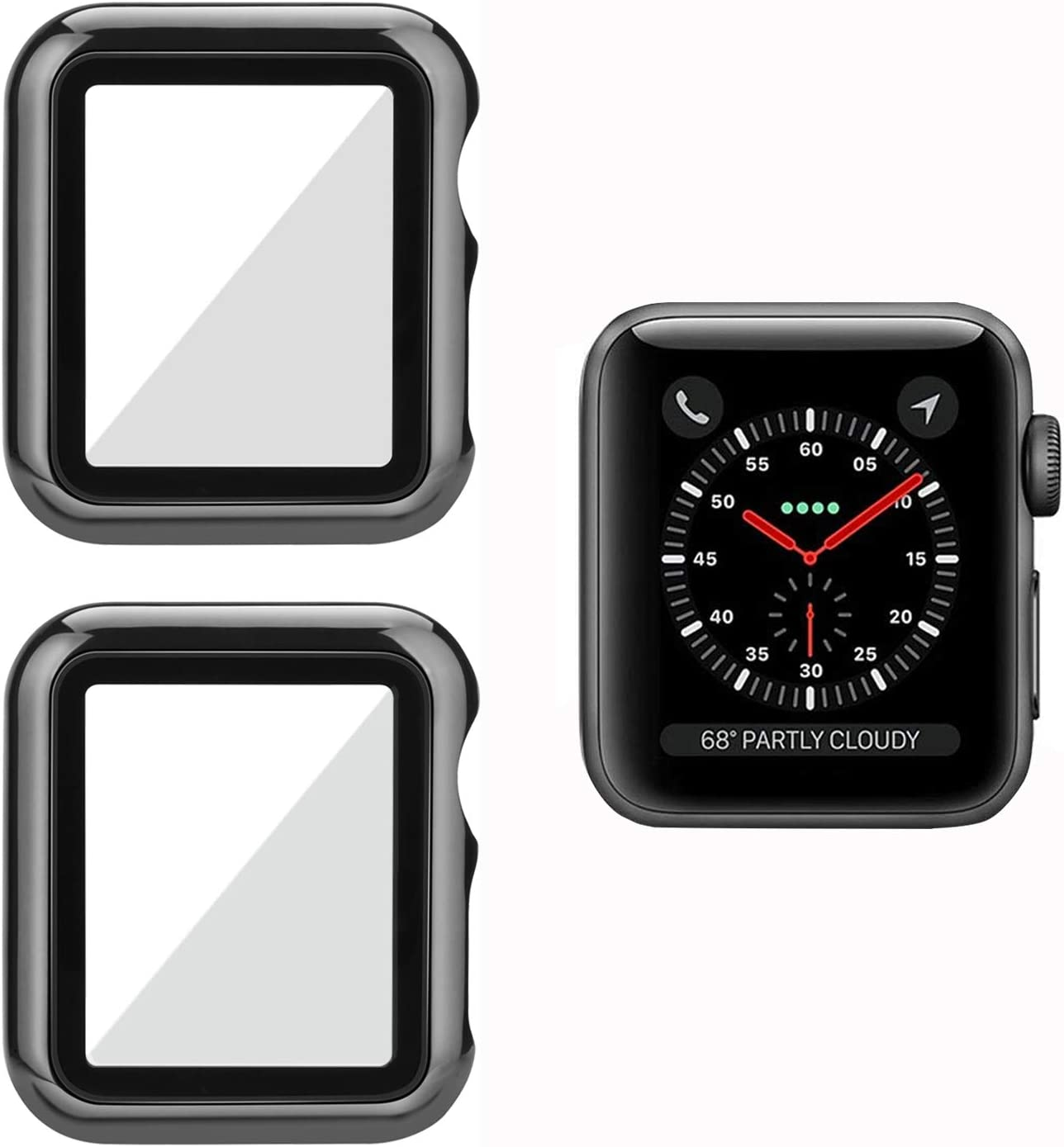 MAIRUIX Compatible with Apple Watch Case [2 Pack] 40mm Screen Protector Built-in Tempered Glass Cover Bumper Shock-Proof Slim Ultra-thin Lightweight HD Clear Overall Guard for Apple Watch Series 6/5/4