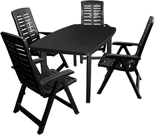 Unbekannt Conjunto de Muebles de jardín desconocidos, Mesa de jardín, plástico Antracita, 101 x 68 cm + 4 sillones Plegables, plástico Antracita, 5 Posiciones: Amazon.es: Jardín