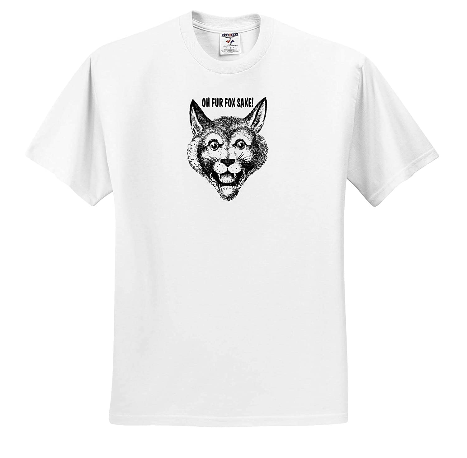 Oh Fur Fox Sake 3dRose Russ Billington Designs Funny Vintage Fox Image with Text in Black and White T-Shirts