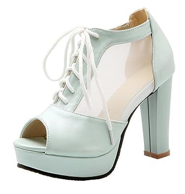 07dce7c8b59acc YE Elegant Damen Blockabsatz Peep Toe High Heels Plateau Pumps mit  Schnürung 10cm Absatz Schuhe