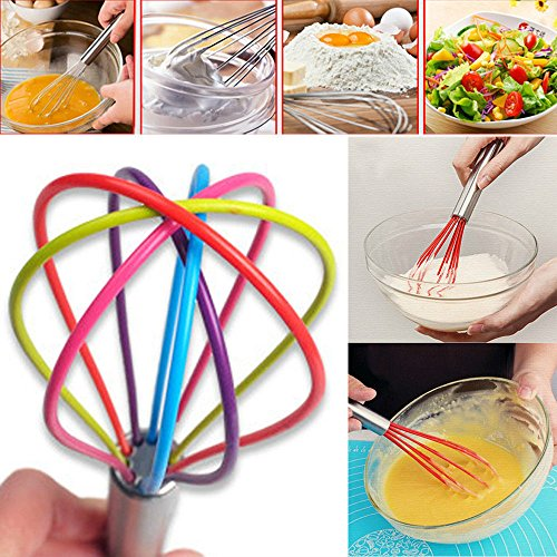 KANG-Stainless Steel Handle Egg Whisk Silicone Kitchen Mixer Balloon Wire Egg Beater ()