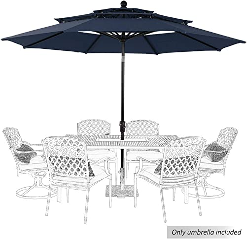 PHI VILLA 10ft Patio Umbrella Outdoor 3 Tier Vented Table Umbrella
