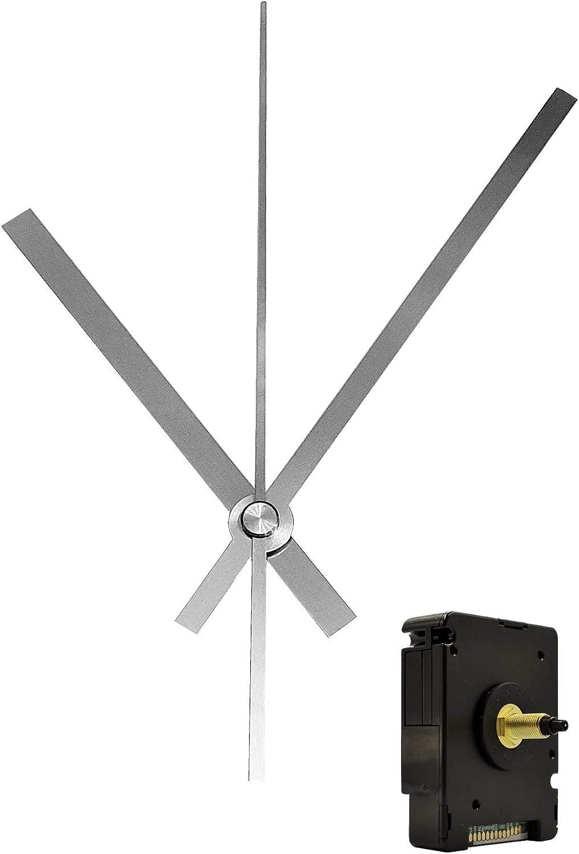 Funkuhrwerk DCF lautlos geräuschlos Leuchtende Uhrzeiger Alu Schwarz 130 mm #272