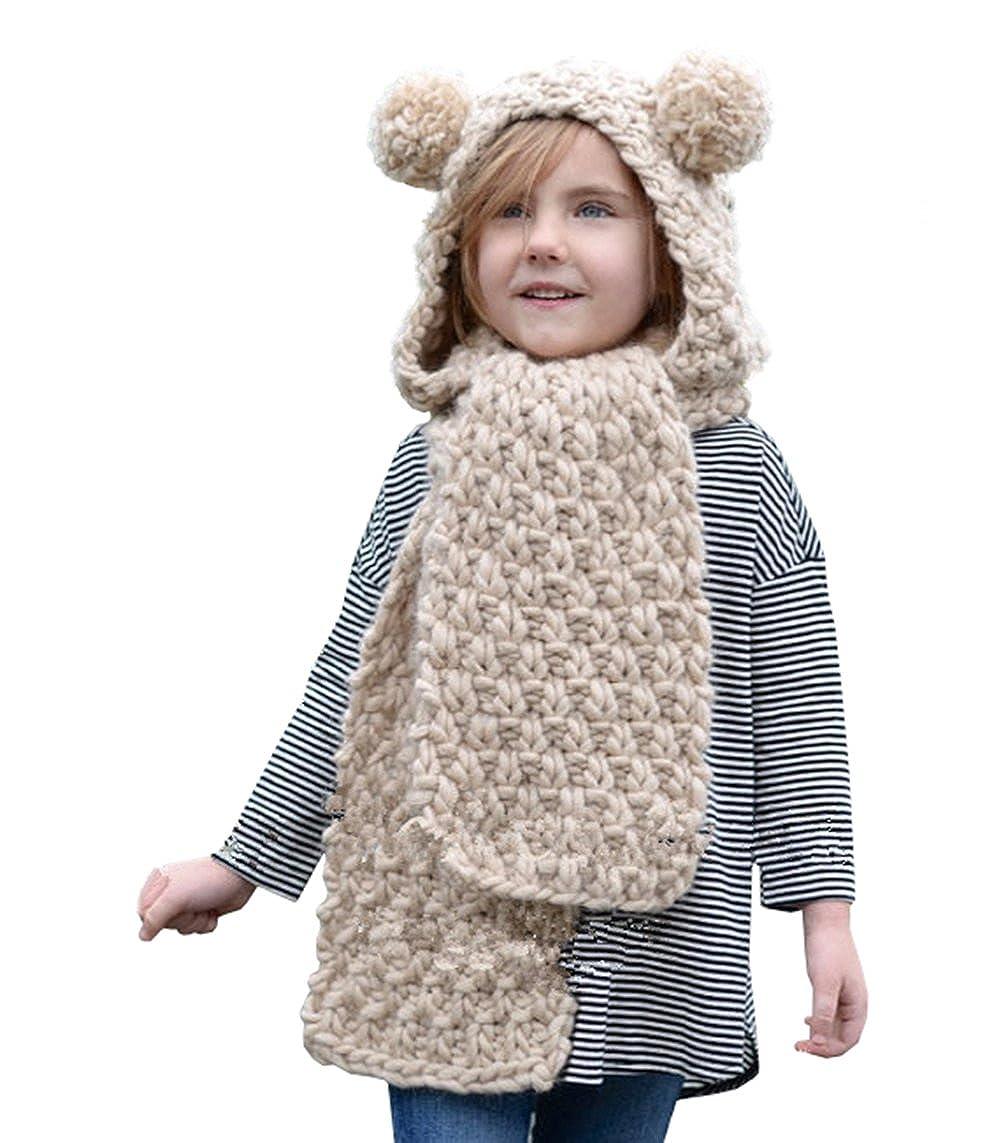 Amazon Bevogue Kids Crochet Unicorn2pompom Ears Hat With Scarf