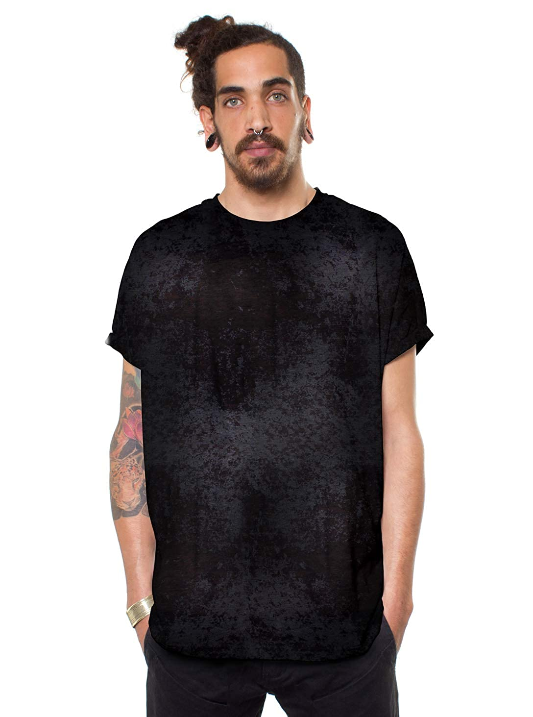 Acis Wash Dark Grey Street Habit Mens Camouflage Baggy Boxy T-Shirt Thin Lightweight Unique Black Going Out Top