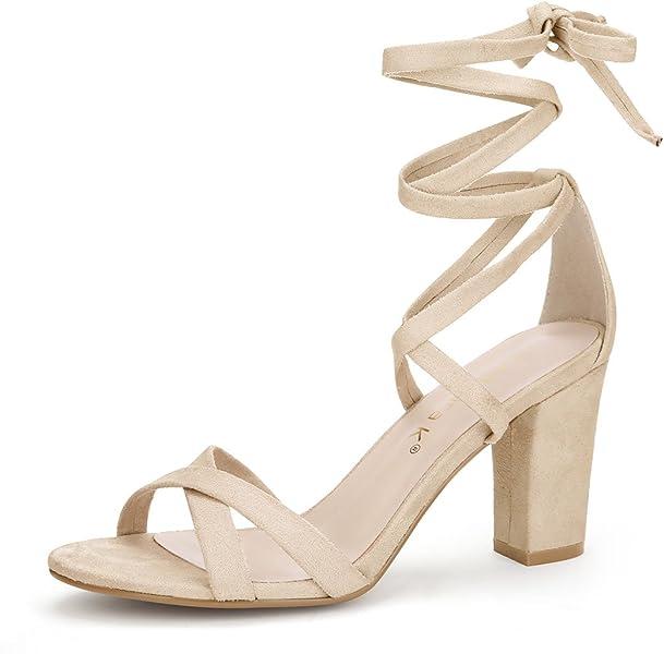 aa31759765e Allegra K Women s Lace-up Heeled Sandals Beige 5.5 UK Label Size 7.5 ...
