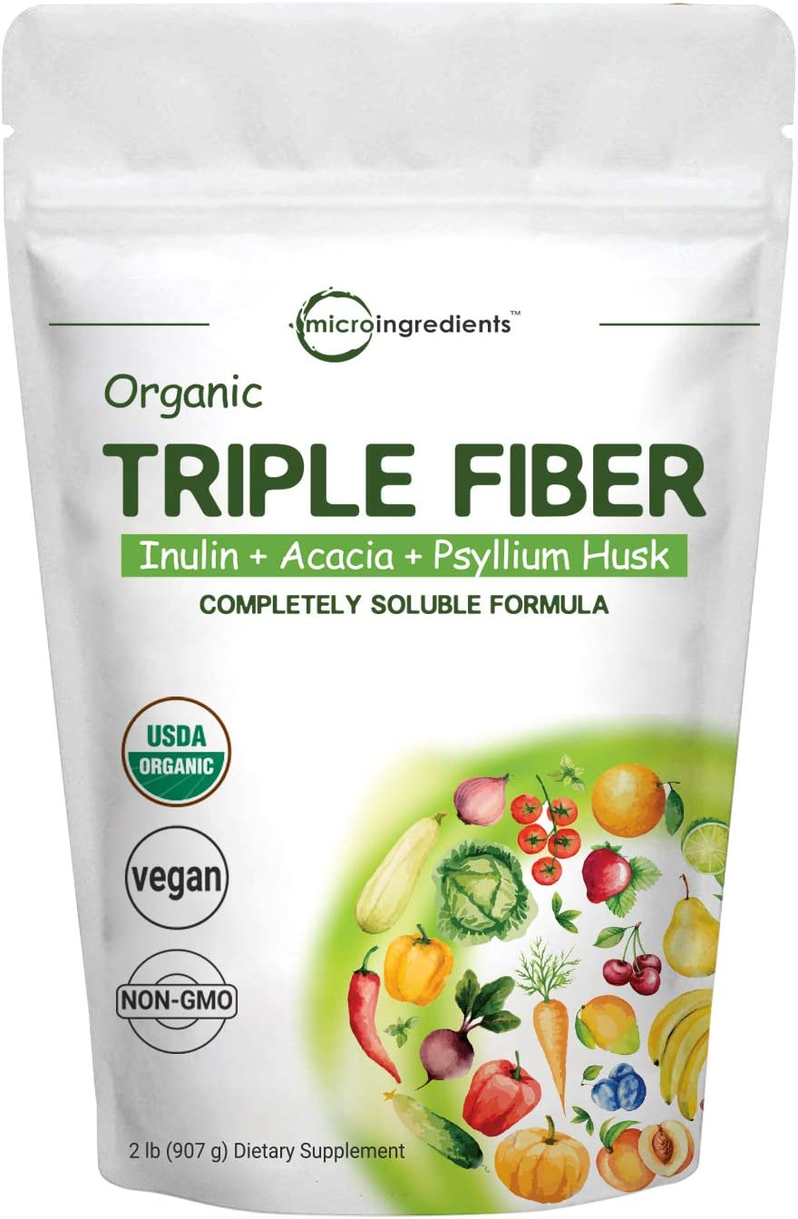 Organic Triple Soluble Fiber Powder (Inulin, Acacia, Psyllium Husk), Prebiotics Supplement for Digestive Health, 2 Pounds (32 Ounce), All Natural, Water Soluble and Taste Free, Vegan Friendly