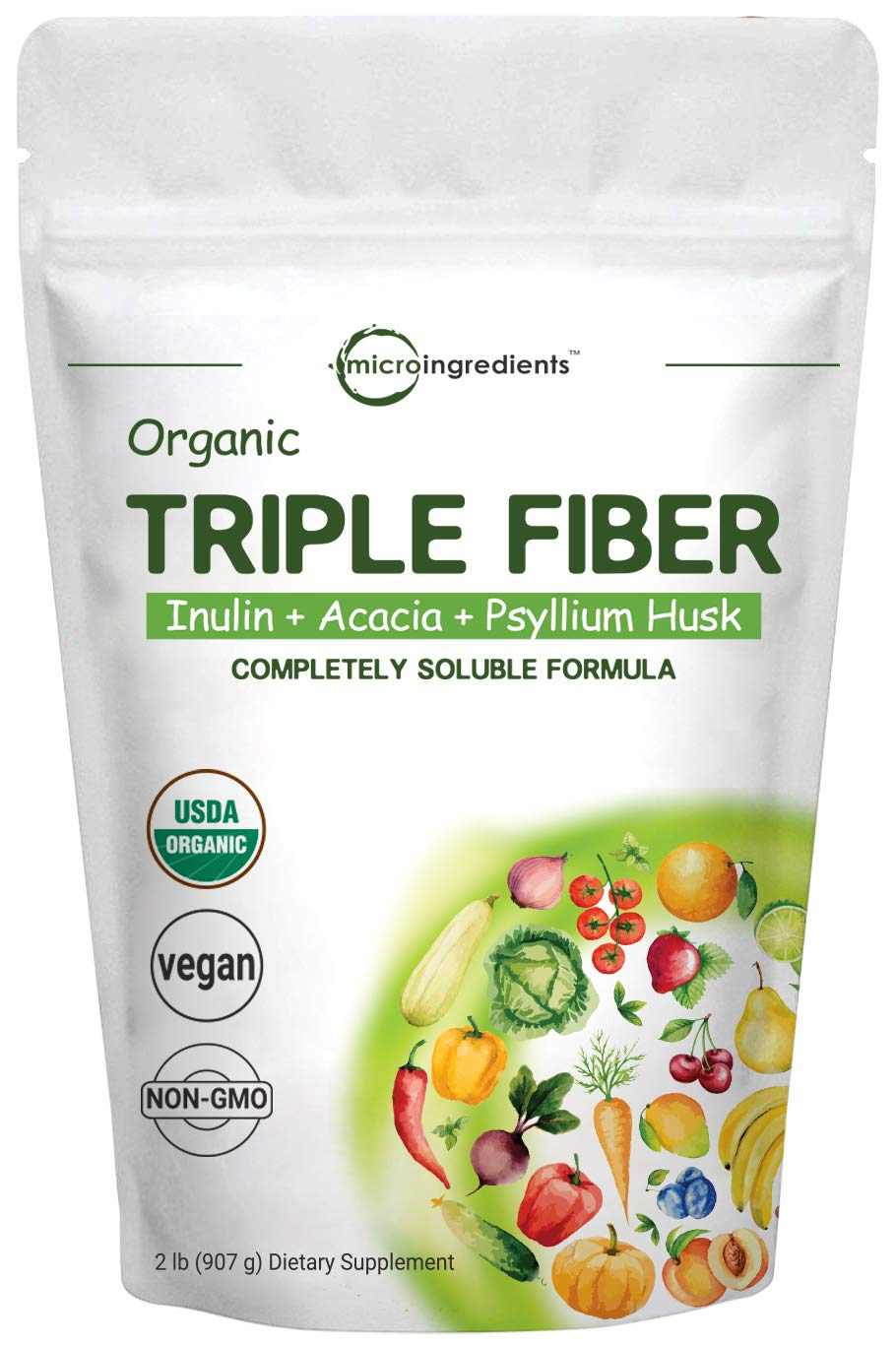 Organic Triple Prebiotic Dietary Fiber Supplement Powder for Digestive Health, 2 Pounds, 32 Ounce, All Natural, Clear, Water Soluble and Taste Free, No GMOs and Vegan Friendly