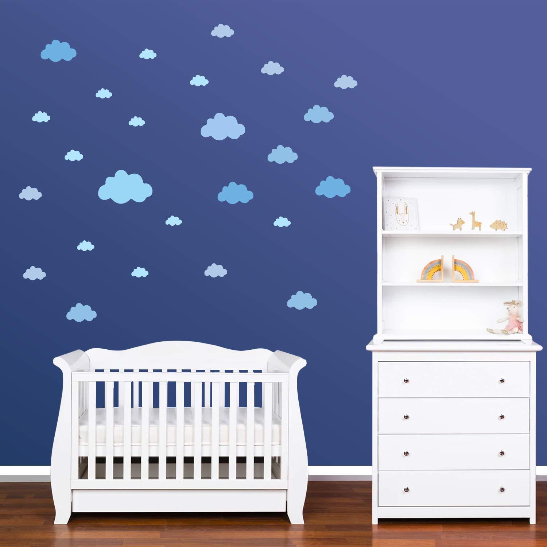 Vinilos Decorativos Habitaci/ón Beb/é Ni/ños F/ácil de Poner Azul Pastel PREMYO 25 Nubes Pegatinas Pared Infantil