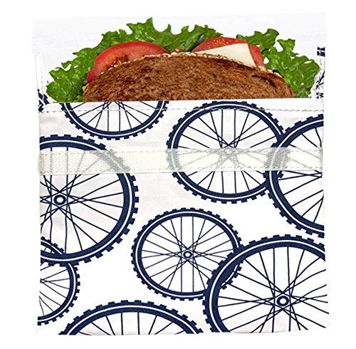 Lunchskins L1-LS1-1U-BIKE-C2-NV Reusable + Sealable, Sandwich Bag, Navy Blue Bike