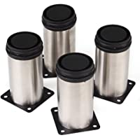 PIXNOR Furniture Leg Kitchen Adjustable Feet Stainless Steel Round Dia Pack Of Pcs
