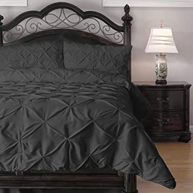 ExceptionalSheets Queen Size Comforter Set - 3 Piece Down Alternative Comforters - Decorative Pinch Pleat Pintuck Design - Wrinkle Resistant Microfiber Bed Set - Charcoal