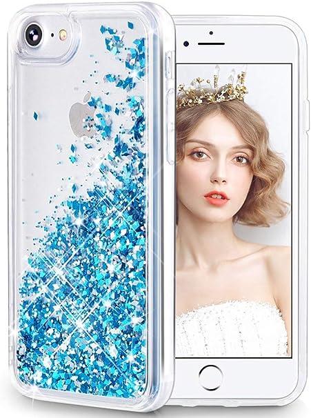 wlooo Cover per iPhone SE 2020, iPhone 6/6s/7/8 Cover, Glitter Bling Liquido Custodia Sparkly Luccichio Ragazze Donne TPU Silicone Protettivo Morbido ...