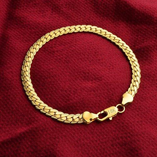 SOSUO Cuban Link Chain Bracelet, 18k Gold Plated Italian 5mm Curb Bangle for Men Women