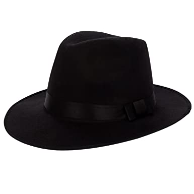 01c6ad3be51db6 Aerusi Men's Vintage Wide Brim Hard Felt Fedora Panama Hat with Bowknot  Black Ribbon at Amazon Men's Clothing store: