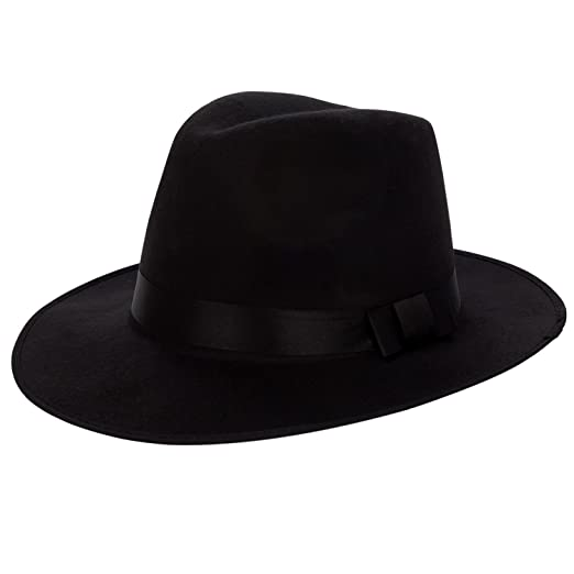 dadda9db7fe Aerusi Men s Vintage Wide Brim Hard Felt Fedora Panama Hat with Bowknot  Black Ribbon at Amazon Men s Clothing store