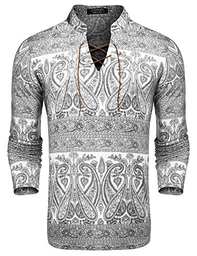 COOFANDY Men's Paisley Print Shirts Slim Fit Henley Neck Floral Casual Cotton Long Sleeve Lace-up T-Shirt, White, Medium