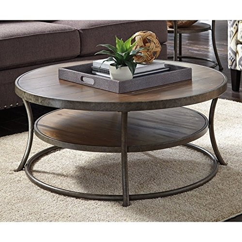 Ashley Furniture Signature Design - Vintage Casual Coffee Table - Cocktail Height - Round - Light Brown (Tables Occasional Finish Gold)