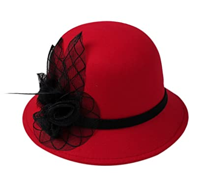 Image Unavailable. Image not available for. Color  Women Vintage Wool Felt  Bowler Hat ... c5960d603c94