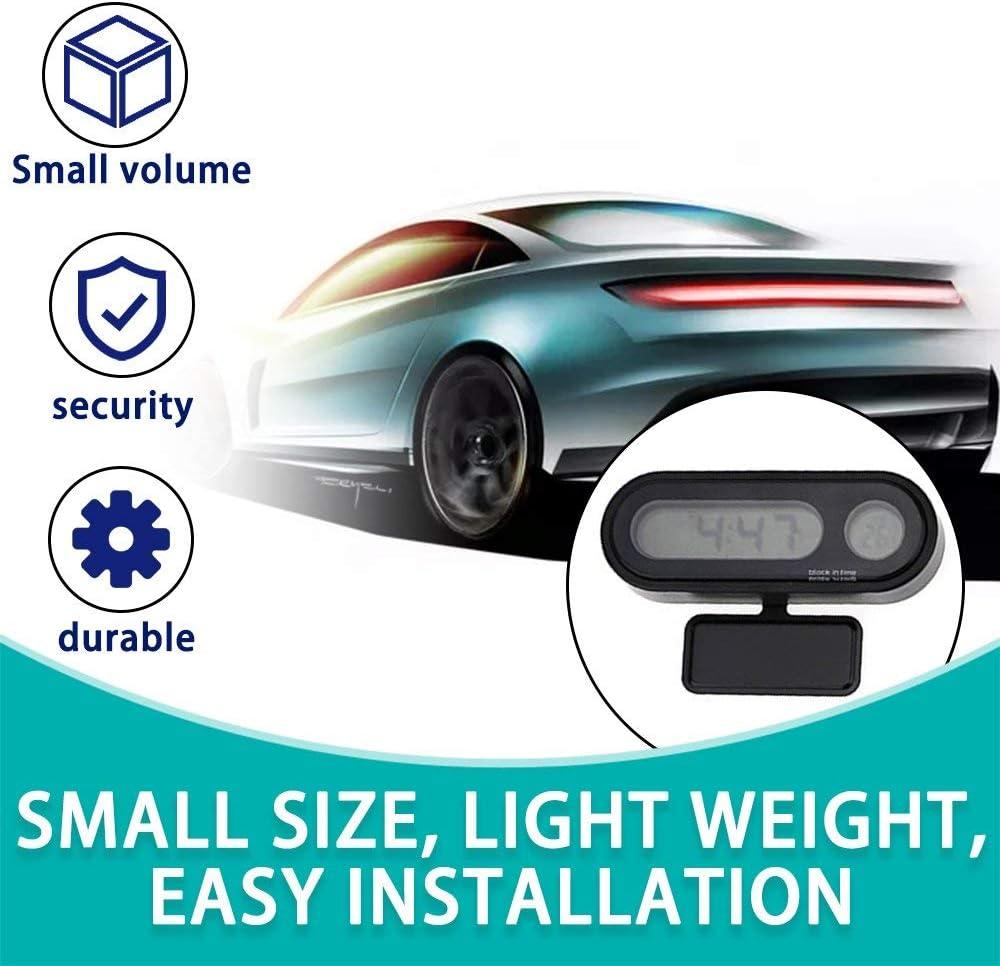 Mouchao Multifunktionales kleines digitales LCD-Display Blaue Hintergrundbeleuchtung Auto Uhr Thermometer schwarz