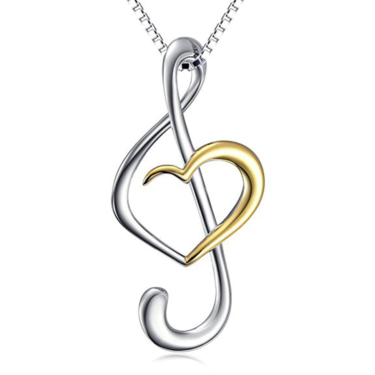 Ashley Jewels Simulated Diamond Studded Fashion Charm Musical Sign Pendant Necklace in 14K White Gold Plated With Box Chain