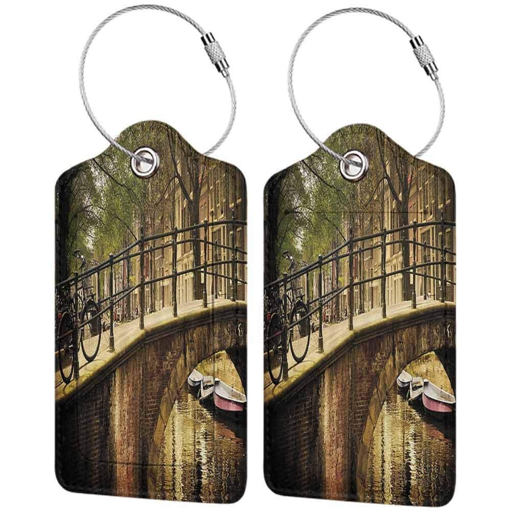 Multi-patterned luggage tag Apartment Decor Romantic Bridge Over Canal in Amsterdam Netherlands European Famous Northern City Photo Double-sided printing Cream W2.7 x L4.6