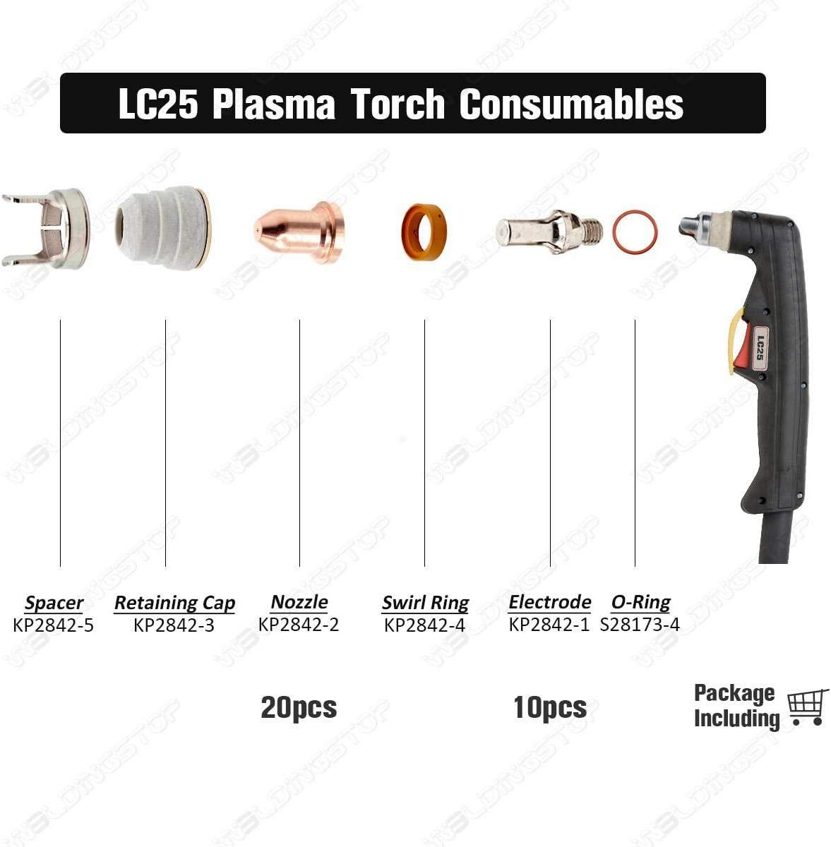 KP2842-2 Embout de coupe plasma pour lampe torche Lincoln /électrique LC25 Qty-10