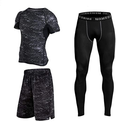 Fitness Running Compression Suits Shirt Pants Short Pack Of 3 For Men Size M