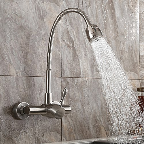 Jiuzhuo Brushed Nickel Wall Mount Stainless Steel Kitchen Faucet with Dual Function ()