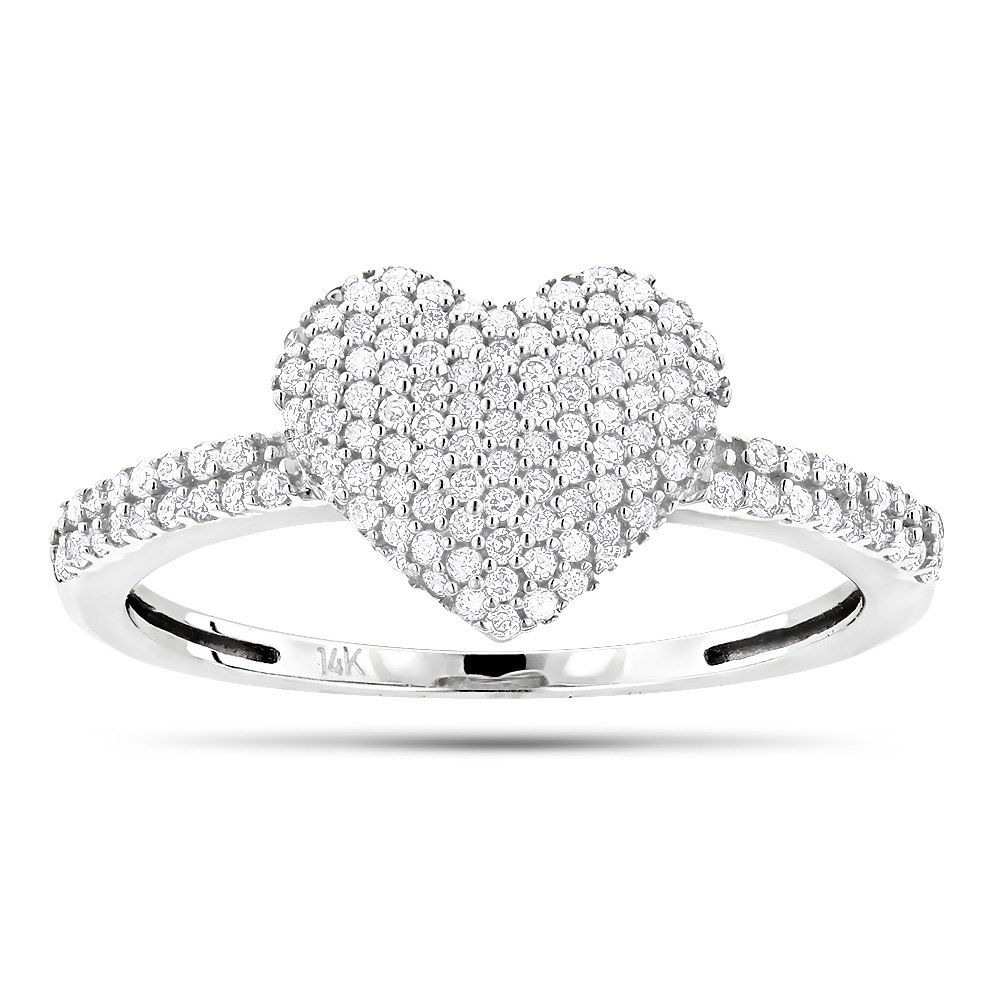 Luxurman Ladies 14K Natural 0.3 Ctw Pave Set Diamonds Heart Ring For Her (White Gold Size 6.5)