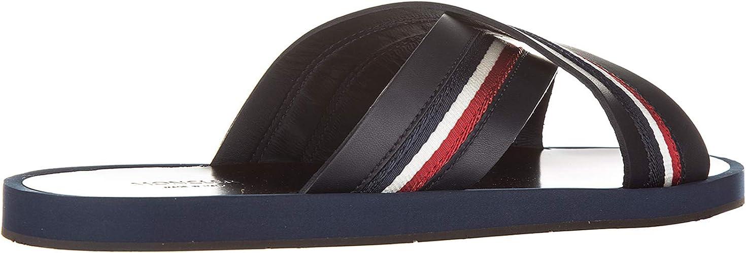 Moncler Herren Leder Sandalen blu: : Schuhe
