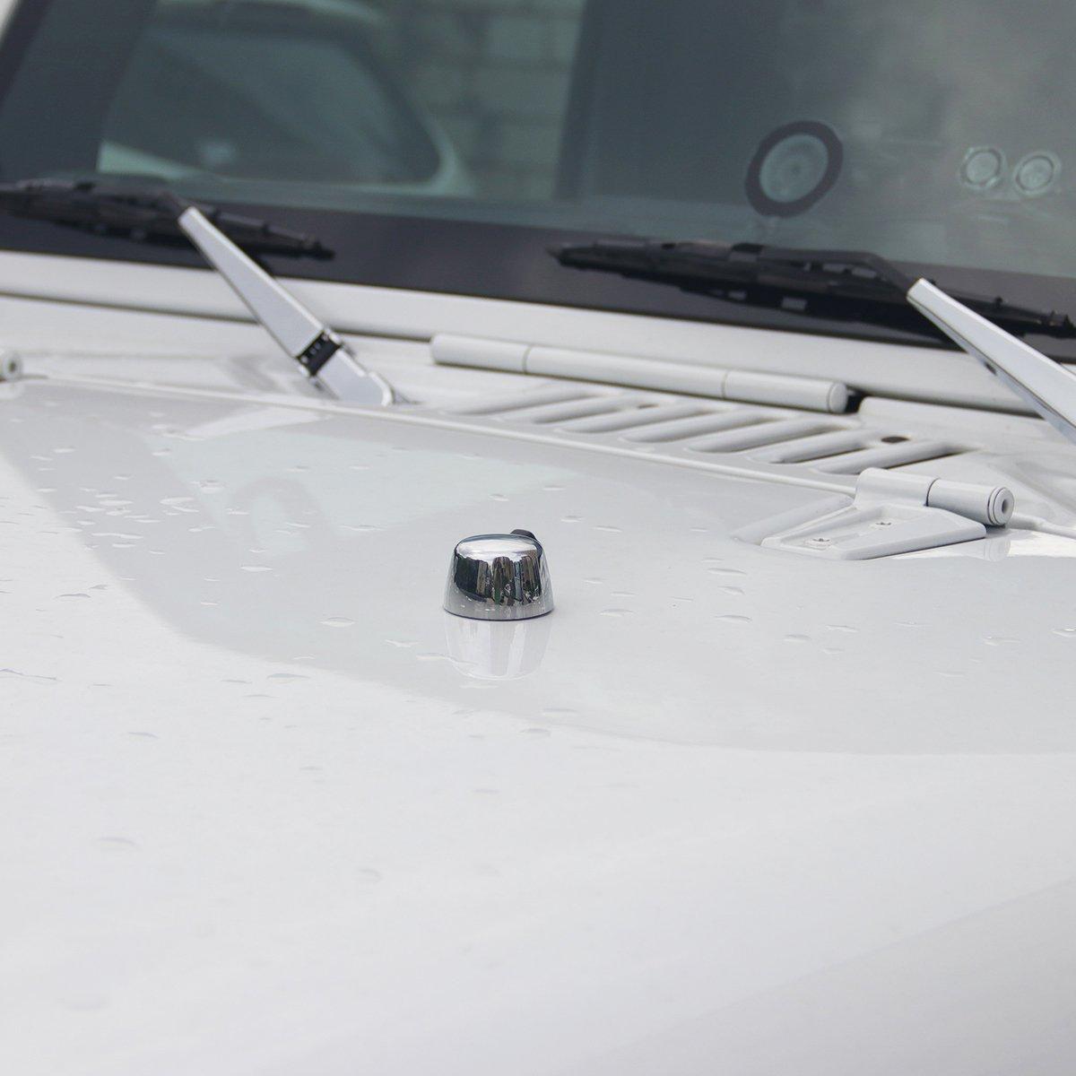 MOEBULB 2-pack Windshield Stops Front Hood Loop Protective Cap Cover for 2007-2017 Jeep Wrangler JK(Stops Loop Cap Red)