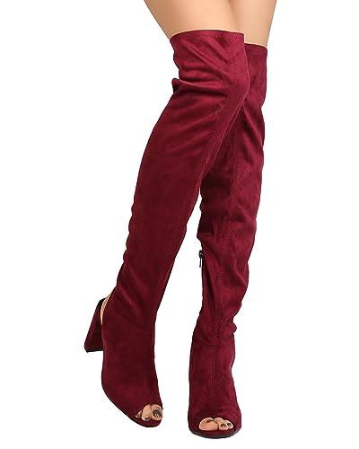 27c8a5c786b Qupid Women Faux Suede Over The Knee Peep Toe Chunky Heel Boot GJ27 -  Burgundy (