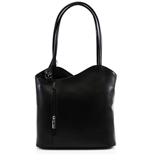 LeahWard Womens Italian Real Leather Hand Made Shoulder or BackPack Handbag  (BLACK). Roll over image to ... a892a7420947a