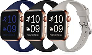 Henva Band Compatible with iWatch 40mm 38mm, Waterproof Soft Slim Band Compatible for Apple Watch SE Series 6/5/4/3/2/1, 3 Pack, Black/Navy Blue/Gray, M/L