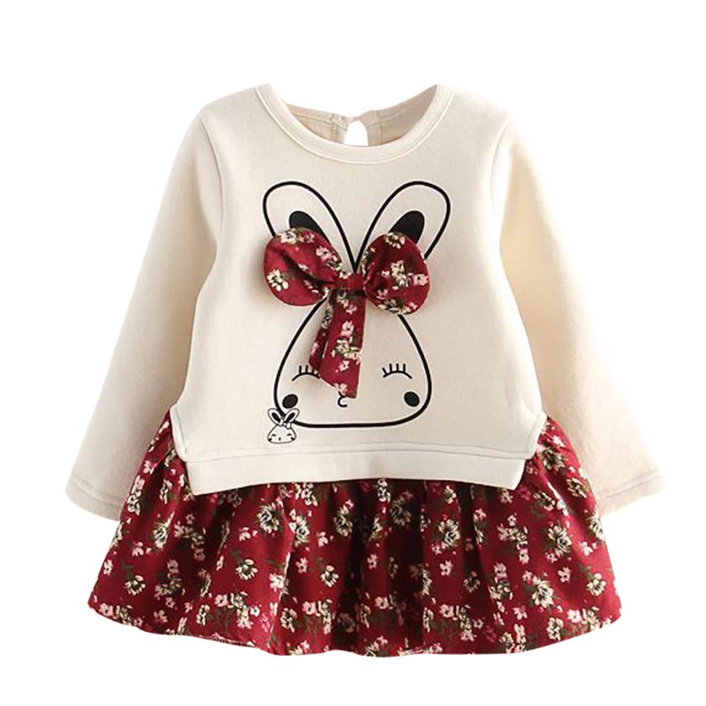 Toddler Baby Girls Cartoon Rabbit Bunny Long Sleeve Princess Dresses Cute Floral Pullover Winter Dress (3 Years, Red) by sweetnice baby clothing