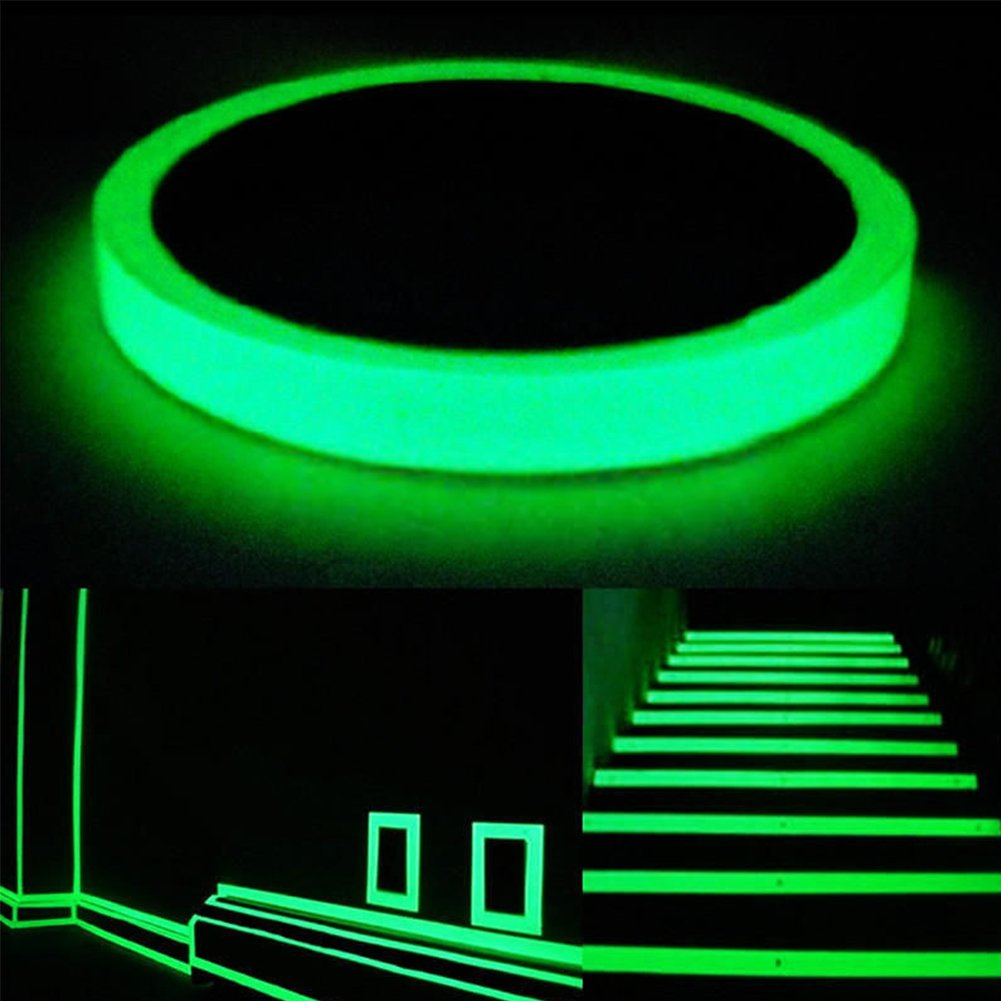 sanyuanli Luminous Tape Sticker Waterproof Removable Photoluminescent Glow in the Dark Safety Tape 32.8ft x 0.4/0.8in(LXW)