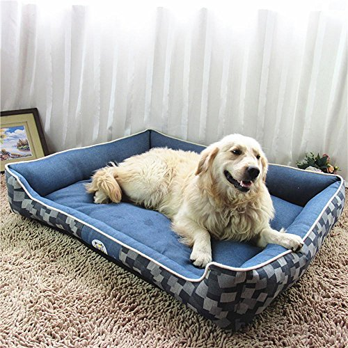- BiuTeFang Pet Bolster Dog Bed Comfort Cotton Denim Print Resistant to Scratching Dog Kennel cat Nest