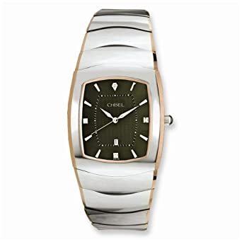 ec0232704f8b61 Chisel Mens Chisel Tungsten with Rose Gold Pated Edge Gray Dial Watch   Chisel  Amazon.co.uk  Watches