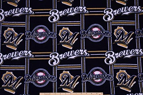 - Milwaukee Brewers FLEECE Baseball MLB Fabric by the Yard
