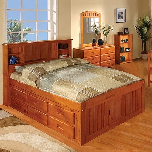 Discovery World Furniture Honey Bookcase Captains Bed Full with Desk,