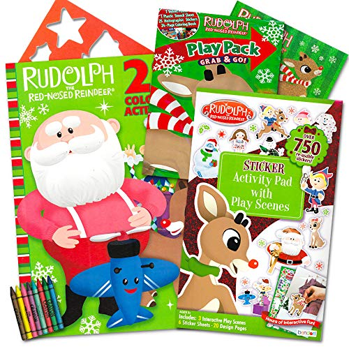 Red Poster Book (Rudolph the Red-Nosed Reindeer Holiday Coloring and Activity Book Set -- 3 Books Filled with Stickers, Games, Mazes, Puzzles and Activites for Kids Toddlers (Rudolph the Red Nose Reindeer Toys))