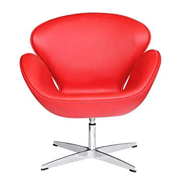 Fine Mod Imports Decorative Furniture Swan Chair Leather, Red