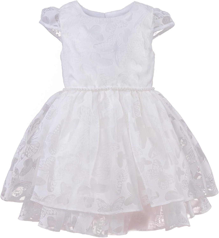 Cocolina Vestido de Bautizo para niña con Flores, Color Marfil o Rosa