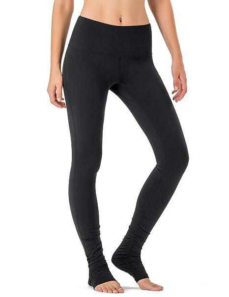 7548765262bb Naviskin Women s High Waisted Extra Long Yoga Leggings Over The Heel  Leggings Back Pocket Black Size