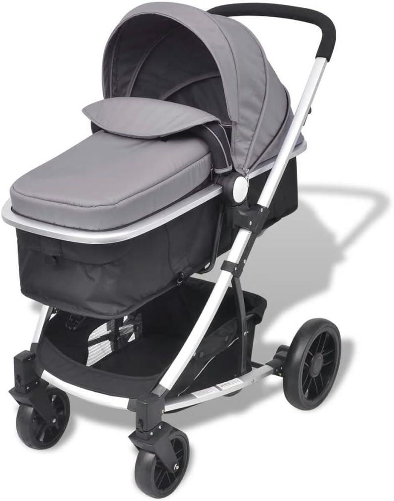 yorten Carro de bebé Plegable Carrito 2 en 1 Cuna de Viaje versátil Ruedas bloqueables 97 x 49 x 101 cm Gris y Negro
